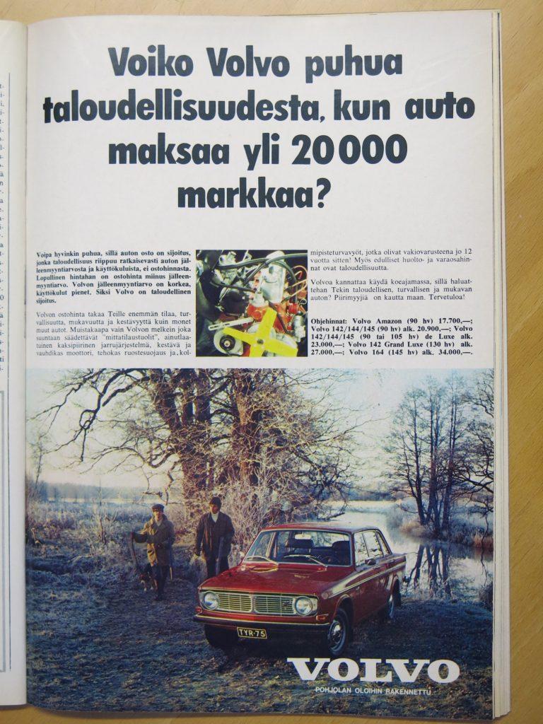 """Päivän automainos: """"Voiko Volvo puhua taloudellisuudesta, kun auto maksaa yli 20 000 markkaa?"""""""