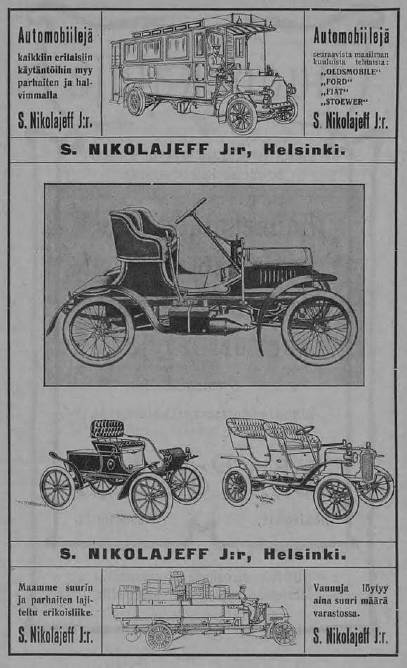 """Päivän automainos: """"Automobiilejä kaikkiin erilaisiin käytäntöihin myy parhaiten ja halvimmalla S. Nikolajeff J:r"""""""