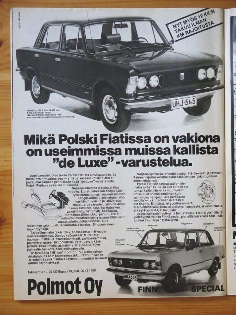 """Päivän automainos: """"Mitä Polski Fiatissa on vakiona on useimmissa muissa kallista """"de Luxe"""" -varustelua."""