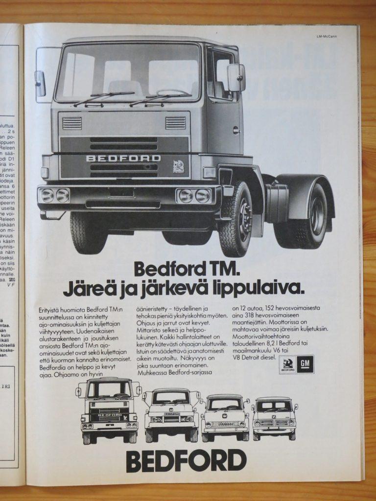 """Päivän automainos: """"Bedford TM. Järeä ja järkevä lippulaiva."""""""