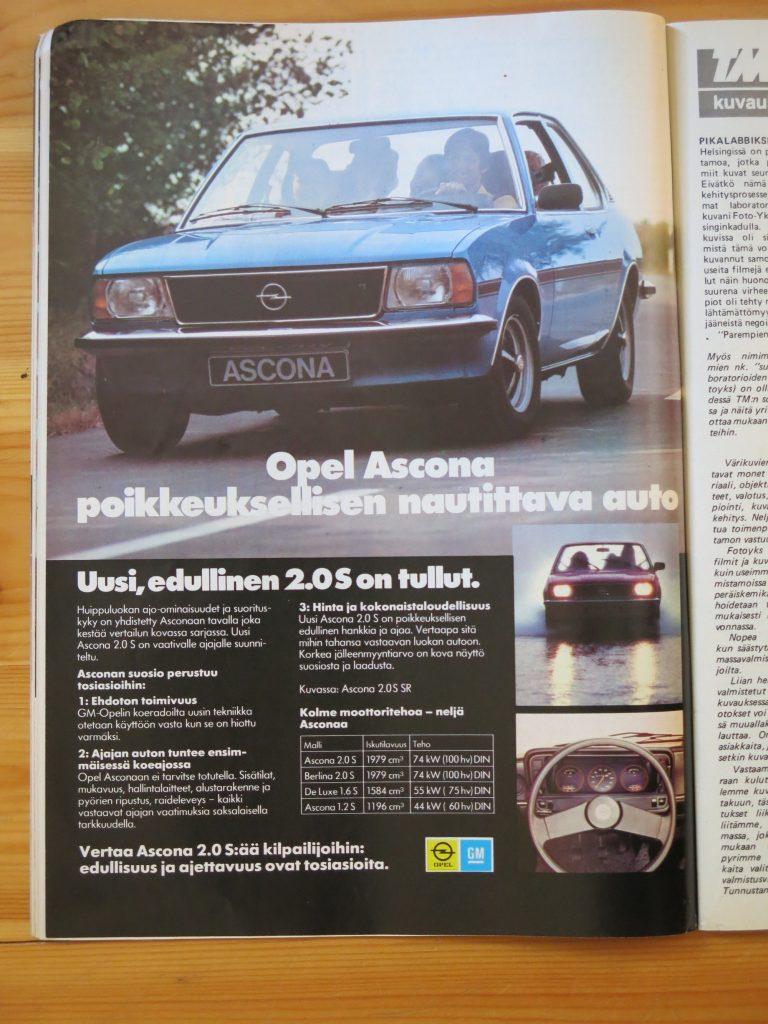 """Päivän automainos: """"Opel Ascona – poikkeuksellisen nautittava auto"""""""