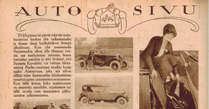 Historian havinaa: Jo vuonna 1925 oli Suomen Kuvalehdessä oma autosivu