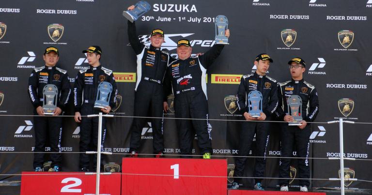 Juuso Puhakka ja Mikko Eskelinen ajoivat voittoon sunnuntain Lamborghini-sarjan kisassa