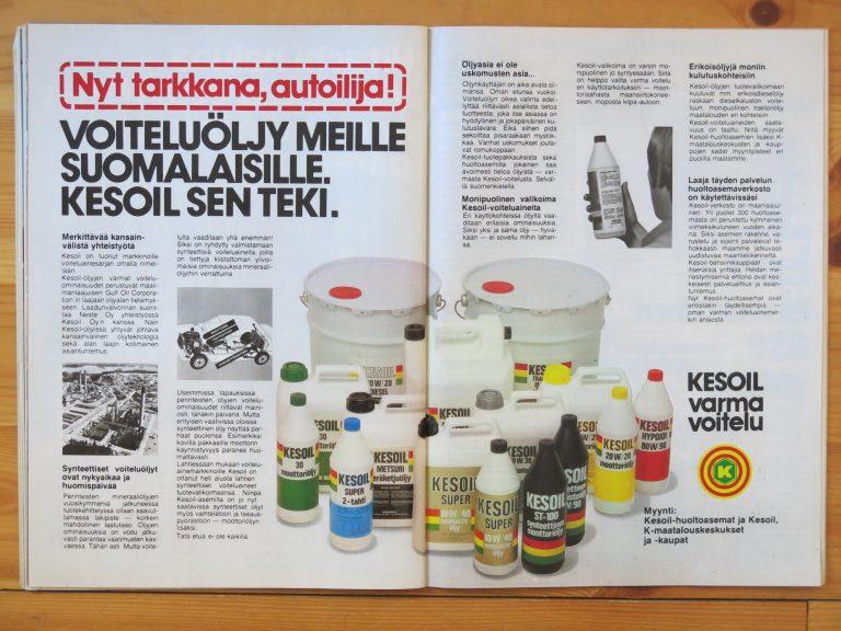 """Päivän automainos: """"Nyt tarkkana, autoilija! Voiteluöljy meille suomalaisille."""""""