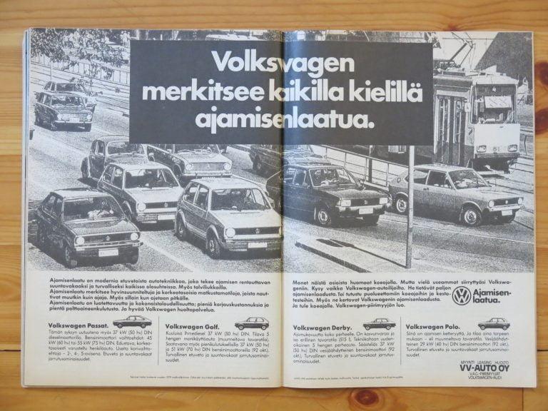 """Päivän automainos: """"Volkswagen merkitsee kaikilla kielillä ajamisenlaatua."""""""