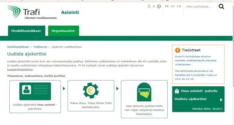 Ministeriö puuttuu Trafin nettipalveluiden toimintaan