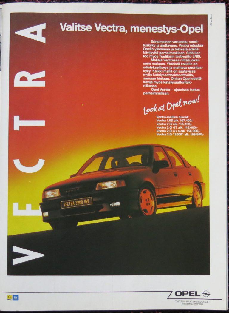 """Päivän automainos: """"Valitse Vectra, menestys-Opel"""""""