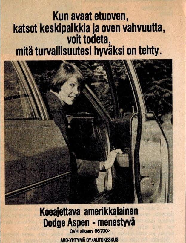 """Päivän automainos: """"Kun avaat etuoven, katsot keskipalkkia ja oven vahvuutta, voit todeta, mitä turvallisuutesi hyväksi on tehty."""""""