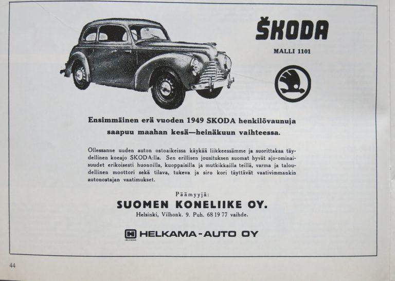 Päivän automainos: Škodan henkilövaunu vuodelta 1949