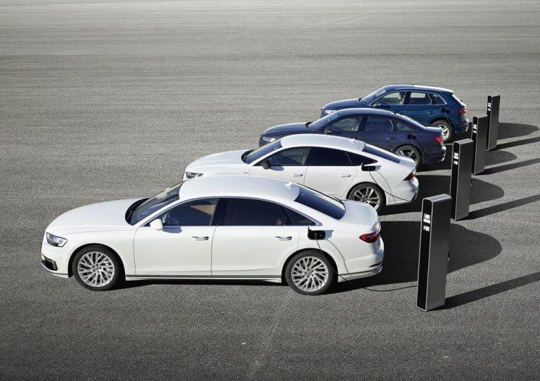 Audi tuo Genevessä markkinoille neljä uutta ladattavaa hybridimallia — toimintamatka sähköllä 40 km
