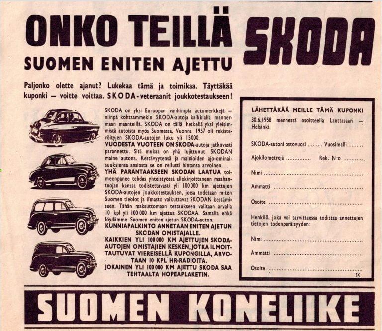 """Päivän automainos: """"Onko teillä Suomen eniten ajettu SKODA"""""""
