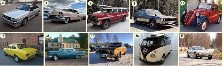 Tässä Classic Motorshow -tapahtuman Omistajien helmien kymmenen finalistia