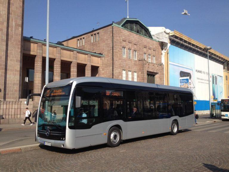 Mersun sähköbussi testiajossa Helsingissä
