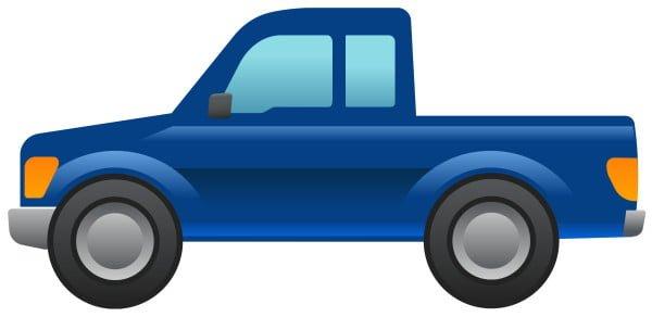 Tältä näyttää lava-auton emoji