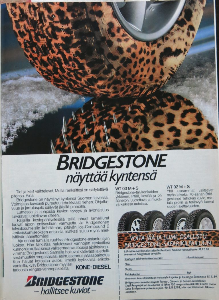 """Päivän automainos: """"Bridgestone näyttää kyntensä"""""""