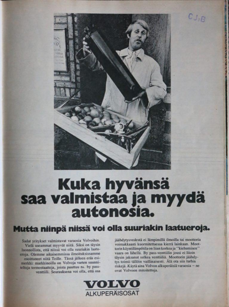 """Päivän automainos: """"Kuka hyvänsä saa valmistaa ja myydä autonosia"""""""