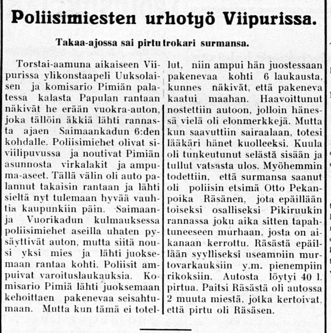 Historian havinaa: Poliisimiesten urhotyö Viipurissa