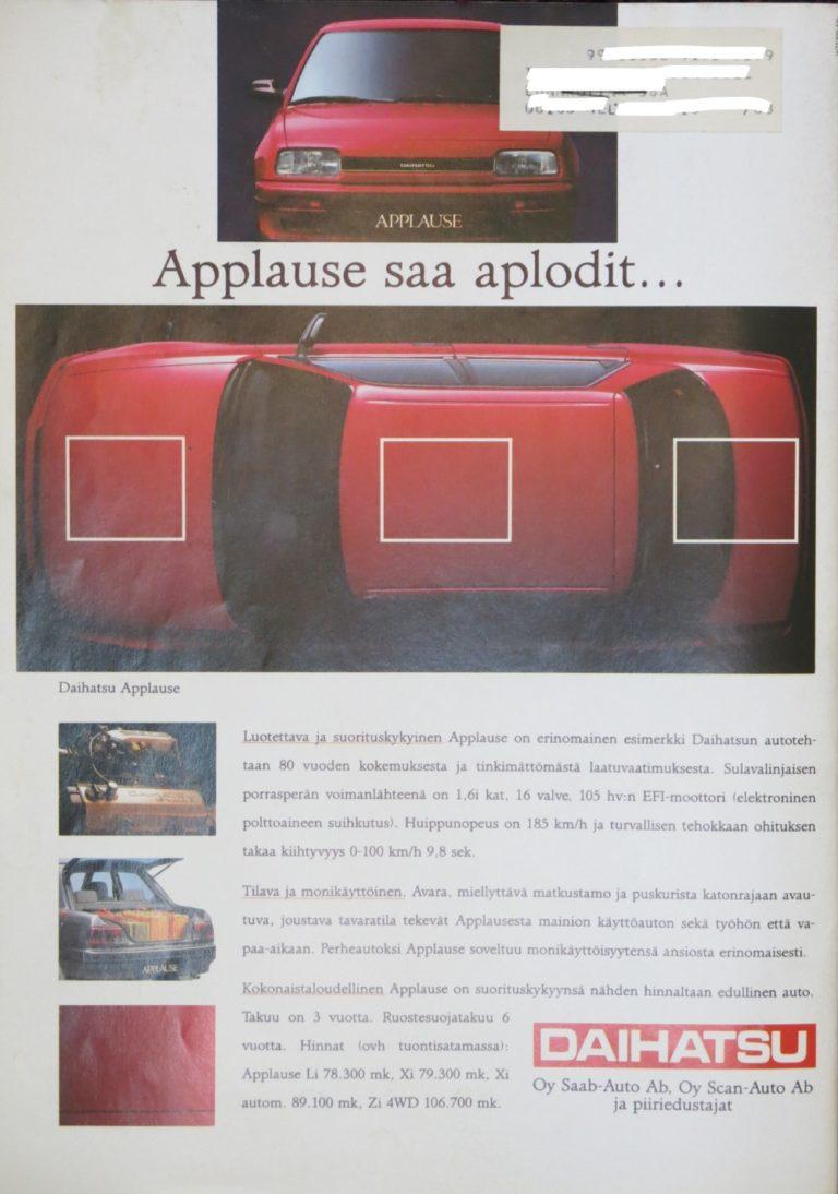 Päivän automainos: Daihatsu Applause saa aplodit…
