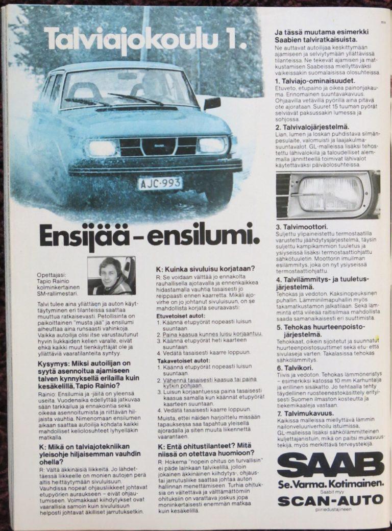 Päivän automainos: Saab —Talviajokoulu 1