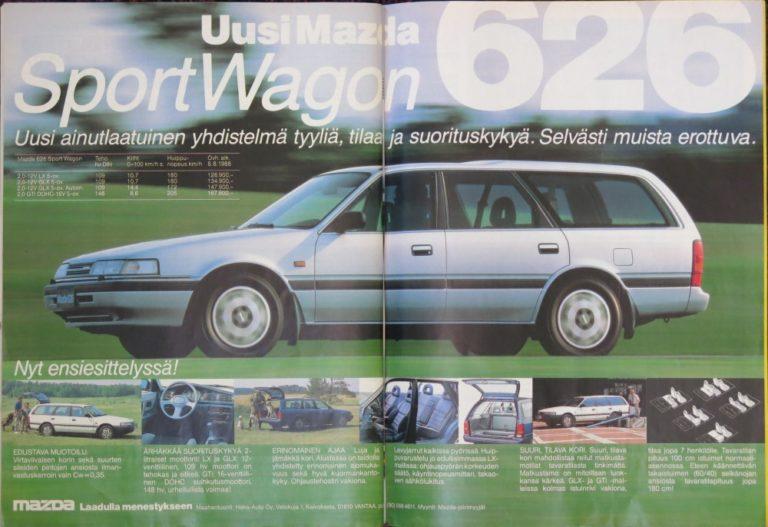 """Päivän automainos: Mazda 626 SportWagon — """"Uusi ainutlaatuinen yhdistelmä tyyliä, tilaa ja suorituskykyä. Selvästi muista erottuva."""""""