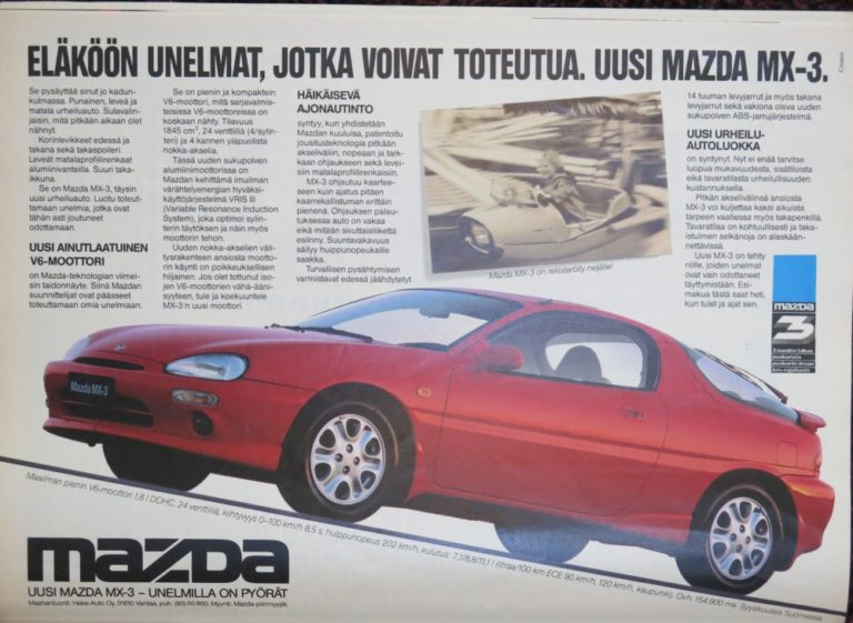 Päivän automainos: Eläköön unelmat, jotka voivat toteutua. Uusi Mazda MX-3.