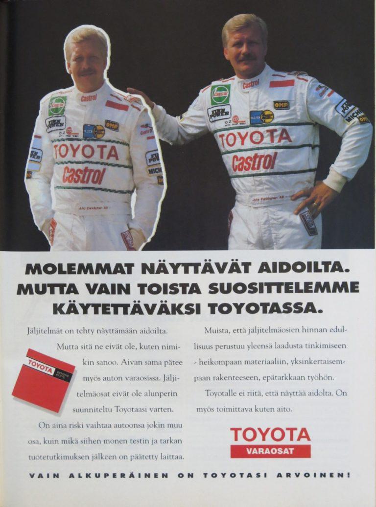 Päivän automainos: Molemmat näyttävät aidoilta. Mutta vain toista suosittelemme käytettäväksi Toyotassa.
