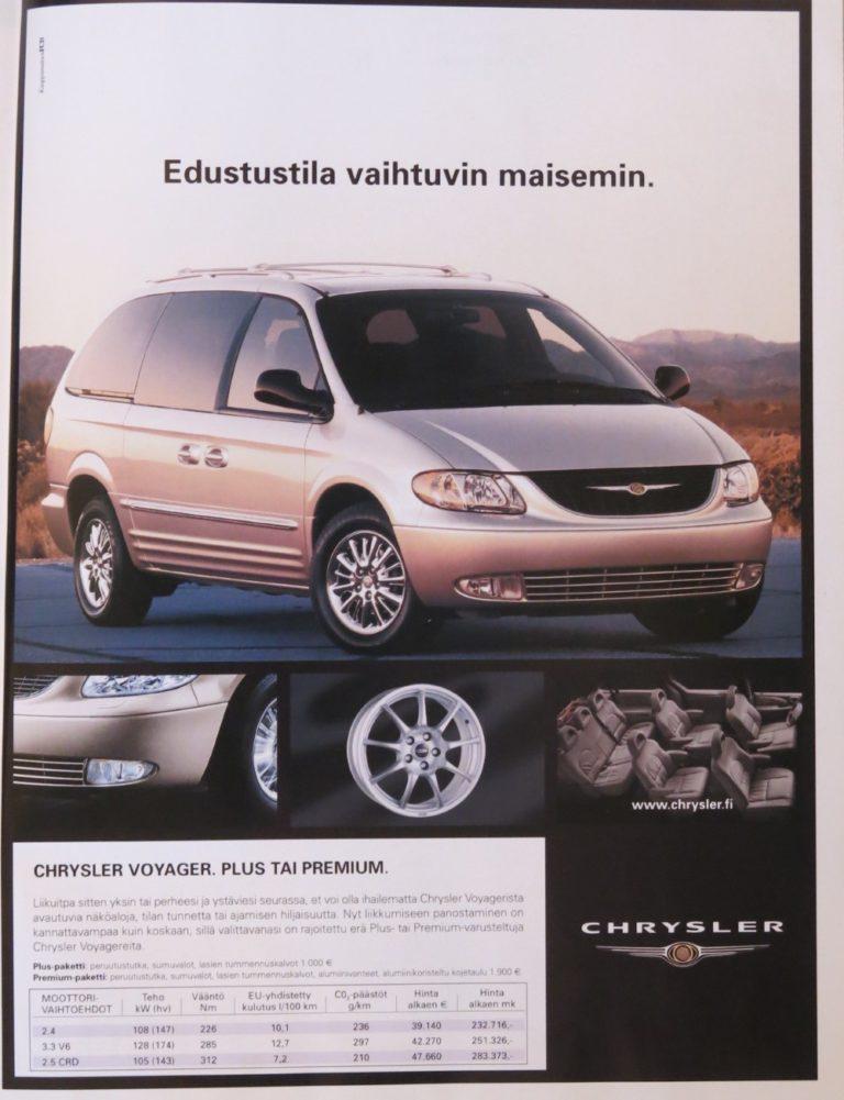 Päivän automainos: Edustustila vaihtuvin maisemin — Chrysler Voyager