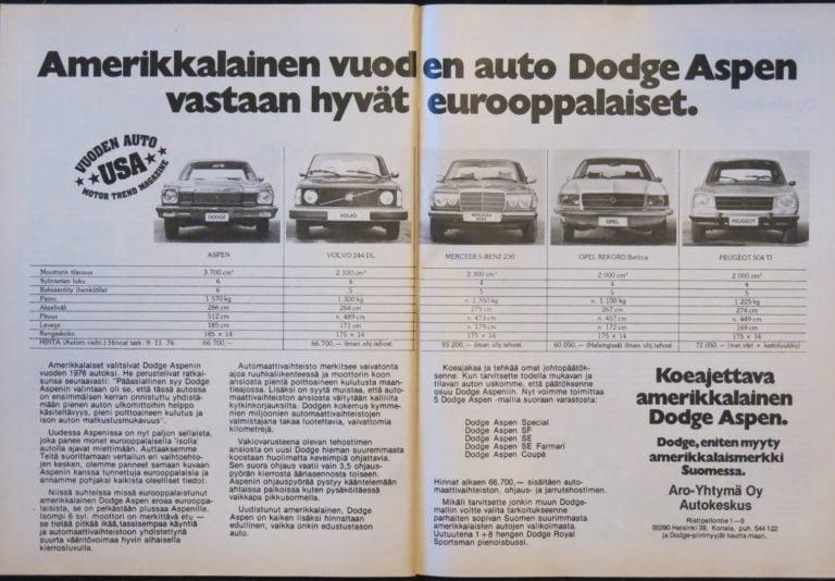 Päivän automainos: Amerikkalainen vuoden auto Dodge Aspen vastaan hyvät eurooppalaiset