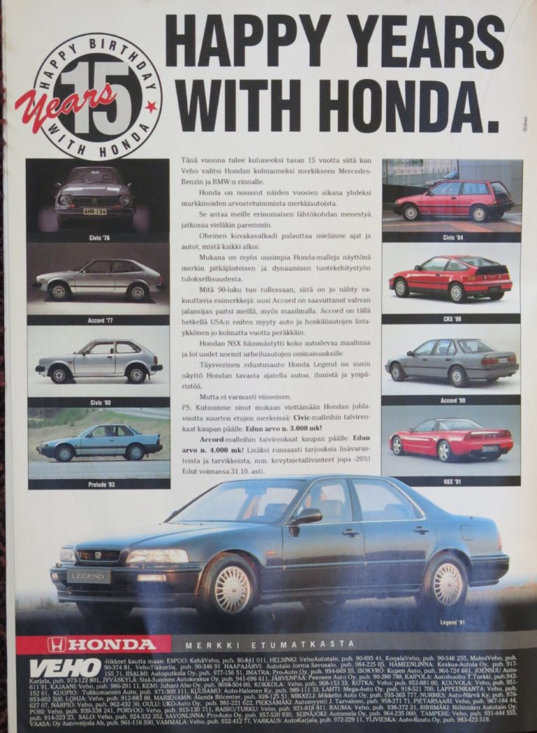Päivän automainos: Happy years with Honda