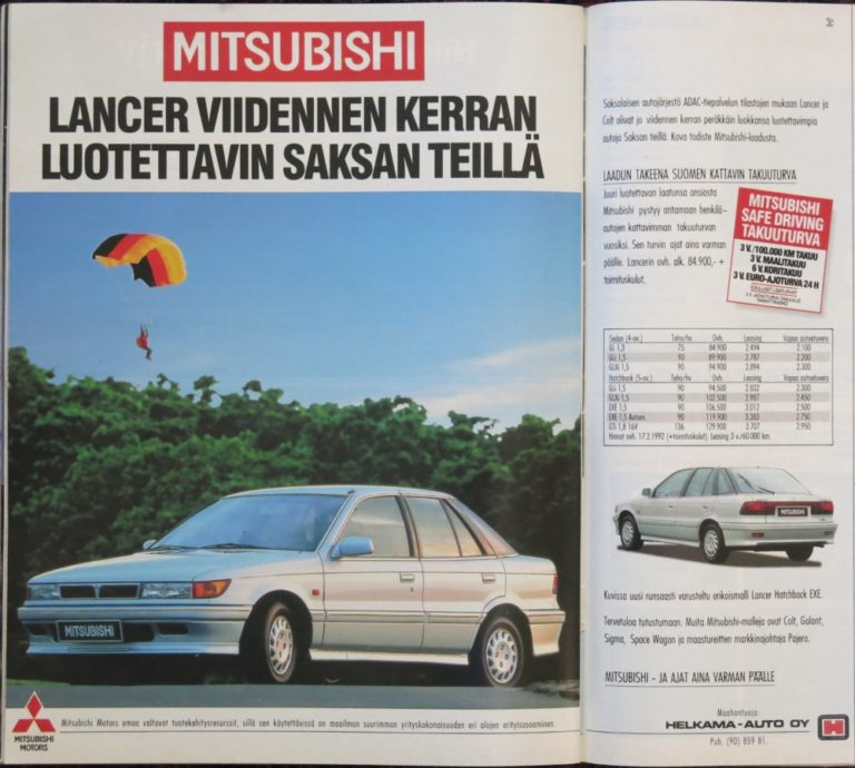 Päivän automainos: Mitsubishi — Lancer viidennen kerran luotettavin Saksan teillä