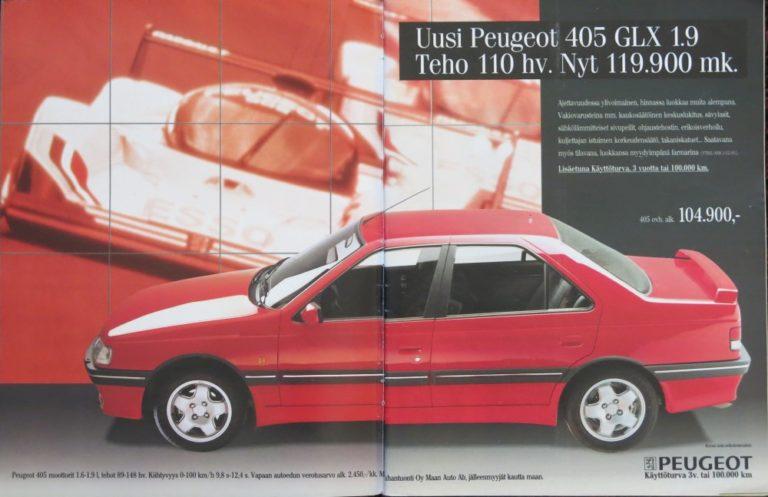 Päivän automainos: Uusi Peugeot 405 GLX 1.9 Teho 110 hv. Nyt 119.900 mk.
