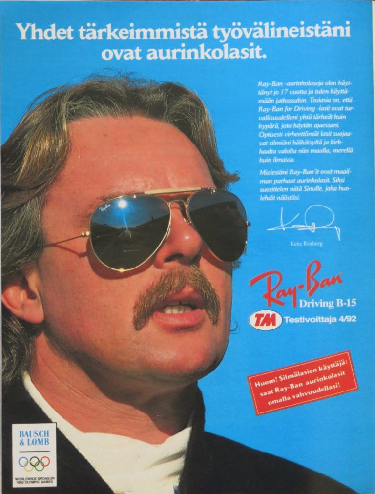 """Päivän automainos: """"Keke Rosberg: Yhdet tärkeimmistä työvälineistäni ovat aurinkolasit."""""""