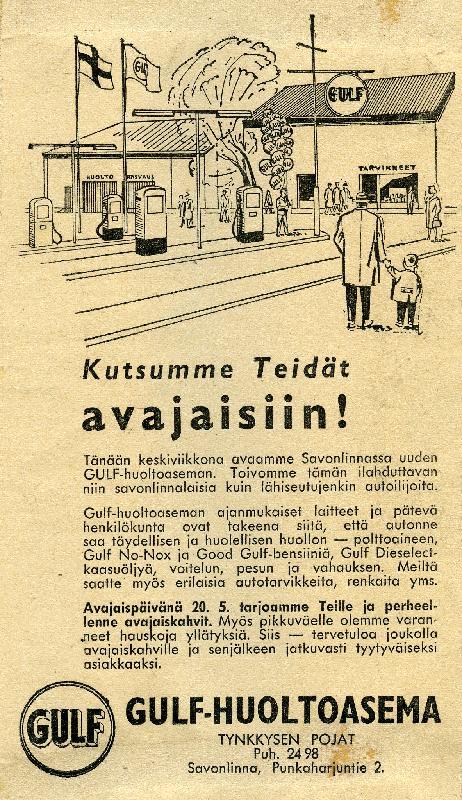 Päivän huoltoasema: Kutsu Savonlinnan Gulf-huoltoaseman avajaisiin 1959