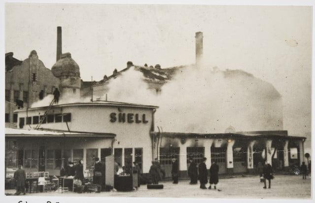 Päivän huoltoasema: Shellin Helsingin Salomonkadun asema talvisodan pommitusten jälkeen