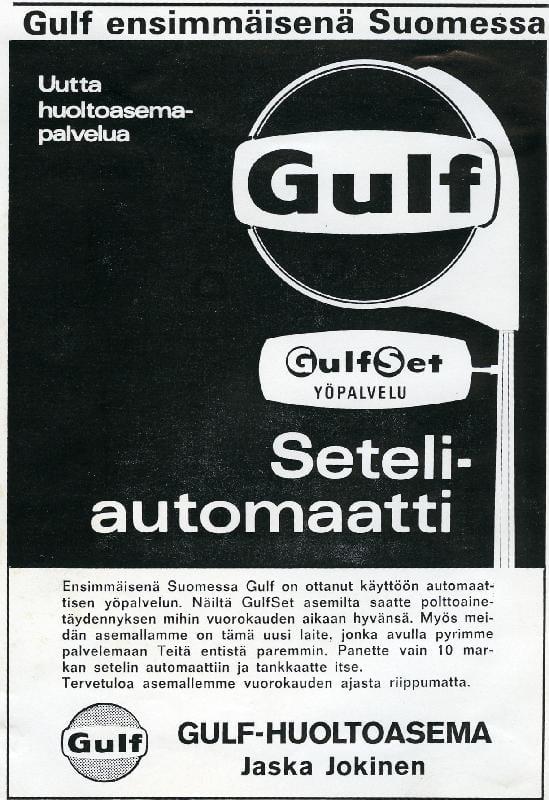 Päivän huoltoasema: Gulf ensimmäisenä Suomessa — seteliautomaatti