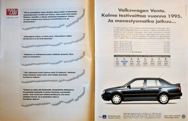 Päivän automainos: Volkswagen Vento. Kolme testivoittoa 1995. Ja menestysmatka jatkuu…