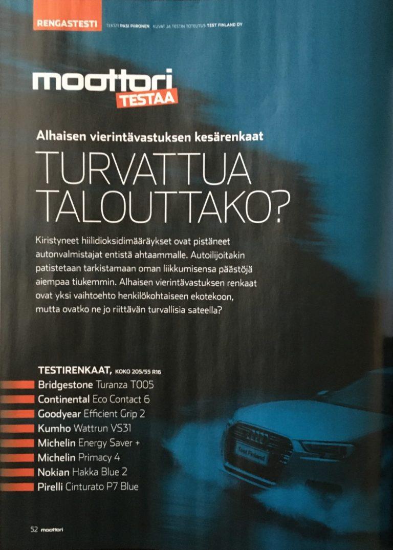 Nokian Hakka Blue 2 voitti Moottori-lehden kesärengastestin