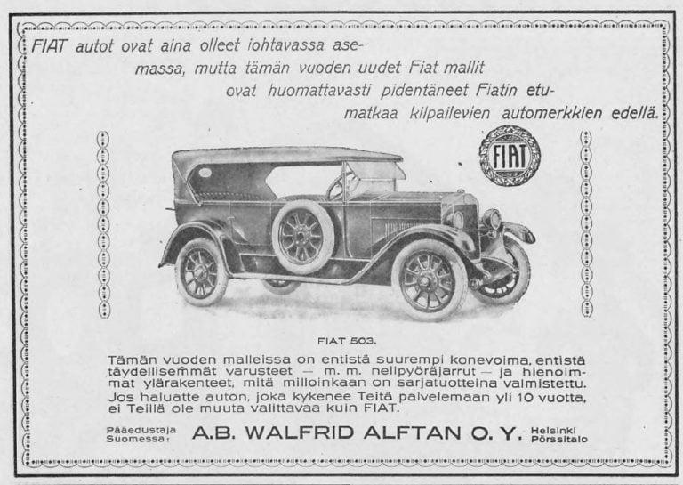 Päivän automainos: Fiatin mainos Moottori-lehdessä 1926