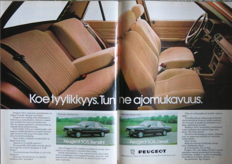 Päivän automainos: Peugeot 505. Koe tyylikkyys. Tunne ajomukavuus.