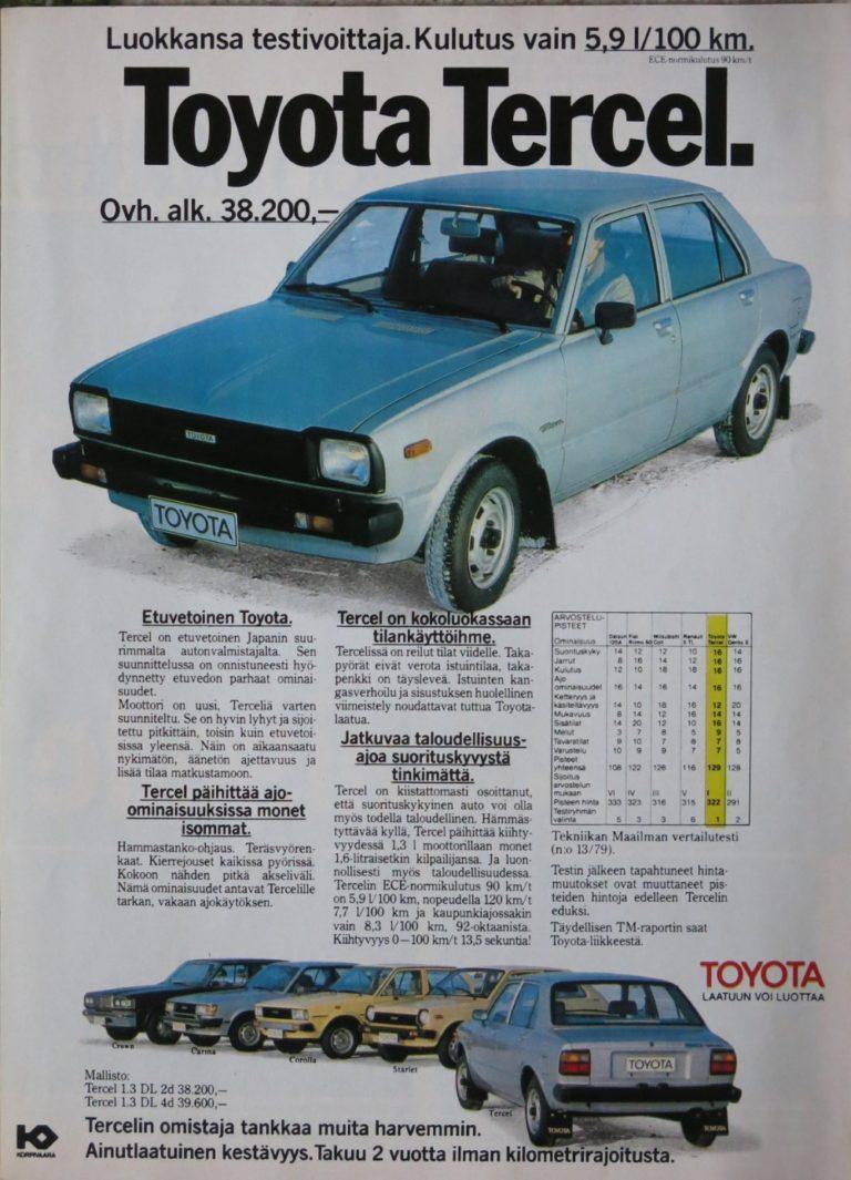 Päivän automainos: Toyota Tercel — luokkansa testivoittaja