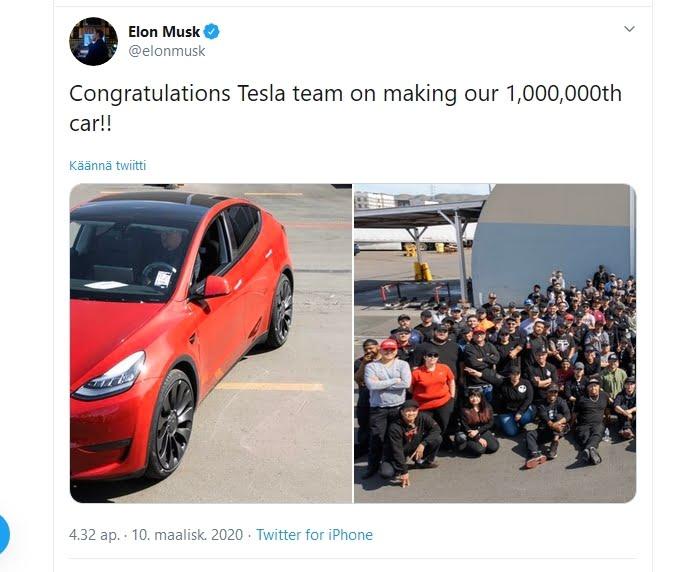 Tesla on nyt valmistanut yli miljoona sähköautoa