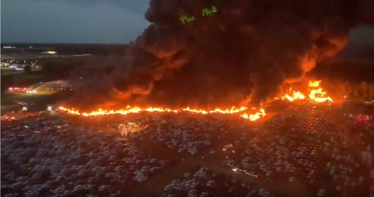 Video: Tältä näytti, kun 3500 vuokra-autoa paloi poroksi