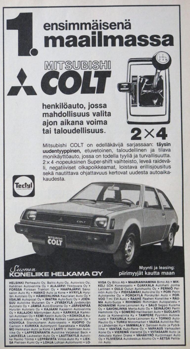 Päivän automainos: Ensimmäisenä maailmassa — Mitsubishi Colt