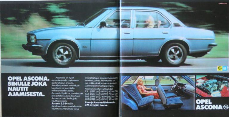 Päivän automainos: Opel Ascona. Sinulle joka nautit ajamisesta.