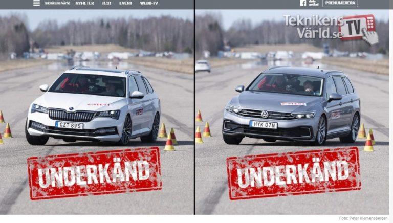 Škodan ja Volkswagenin pistokehybridit yllättivät Teknikens Världin hirvenväistökokeessa