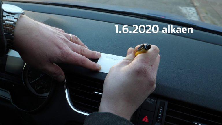 Tieliikennelaki 2020: Pysäköinnin alkamisajan ilmoittaminen yksinkertaistuu