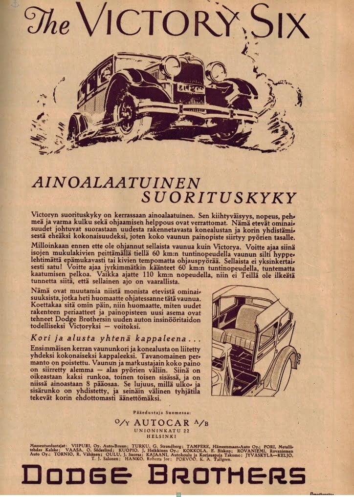 Päivän automainos: The Victory Six — katumaasturin esi-isä 1920-luvulta!