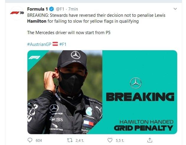 F1: Yllätyskäänne — Hamilton sai kuitenkin lähtöruuturangaistuksen