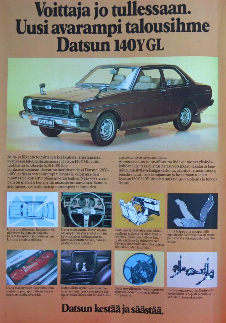 Päivän automainos: Voittaja jo tullessaan. Uusi avarampi talousihme Datsun 140Y GL