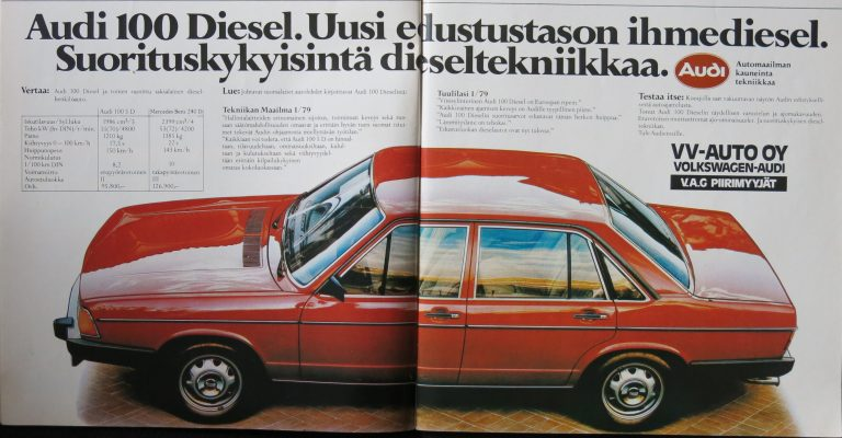 Päivän automainos: Audi 100 Diesel. Uusi edustustason ihmediesel. Suorituskykyisintä dieseltekniikkaa.